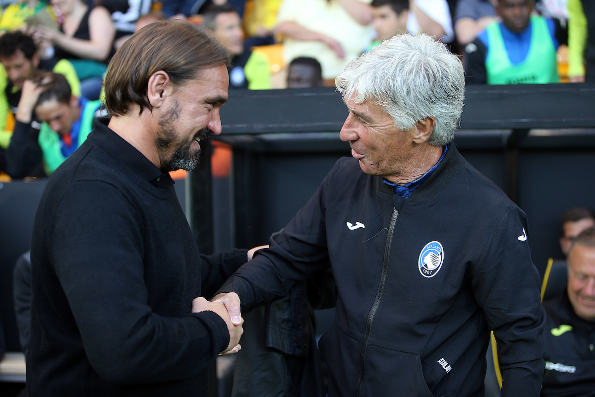 Norwich Head Coach Daniel Farke and Atalanta Manager Gian Piero Gasperini before the Pre-season friendly match at Carrow Road, Norwich Picture by Paul Chesterton/Focus Images Ltd +44 7904 640267 30/07/2019