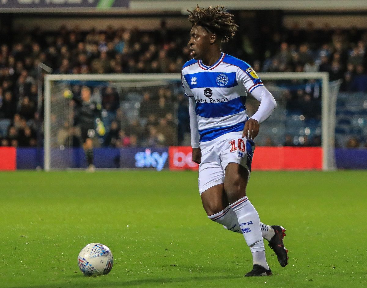 Eberechi Eze of Queens Park Rangers in action against Aston Villa during the Sky Bet Championship match at the Loftus Road Stadium, London Picture by Romena Fogliati/Focus Images Ltd 07576143919 26/10/2018