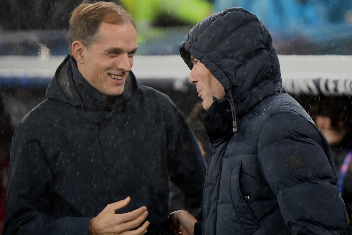 Paris Saint-Germain manager Thomas Tuchel (left) and Real Madrid manager Zinédine Zidane (right) pictured ahead of the UEFA Champions League match at the Estadio Santiago Bernabeu, Madrid Picture by Kristian Kane/Focus Images Ltd +44 7814 482222 26/11/2019