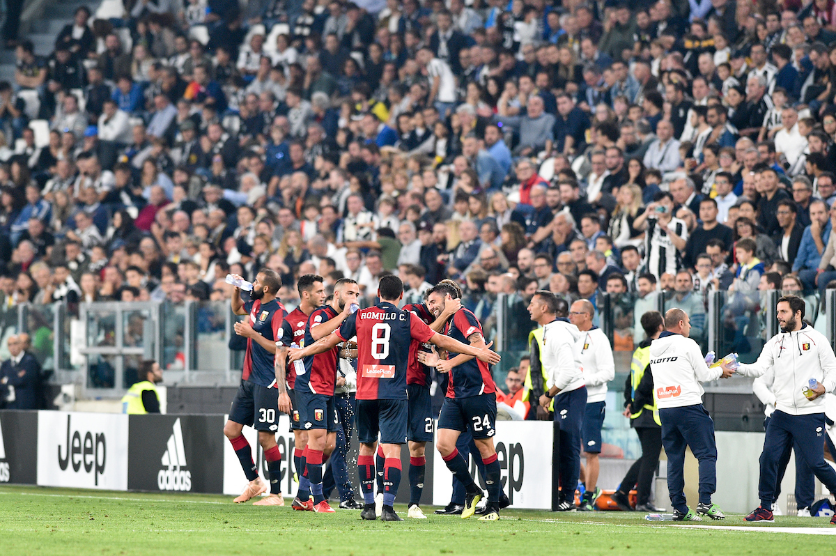 Daniel Bessa of Genoa C.F.C. celebrates with team mates after after scoring their first goal during the Serie A match at Juventus Stadium, Turin Picture by Antonio Polia/Focus Images Ltd +393473147935 20/10/2018