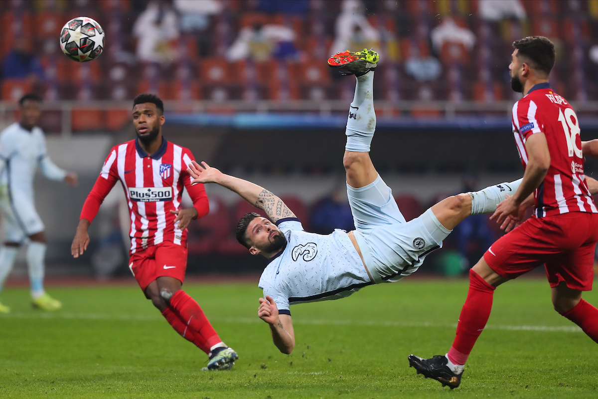 Olivier Giroud of Chelsea scores their first goal during the UEFA Champions League match at Arena Nationala, Bucharest Picture by Focus Images/Focus Images Ltd 07814 482222 23/02/2021