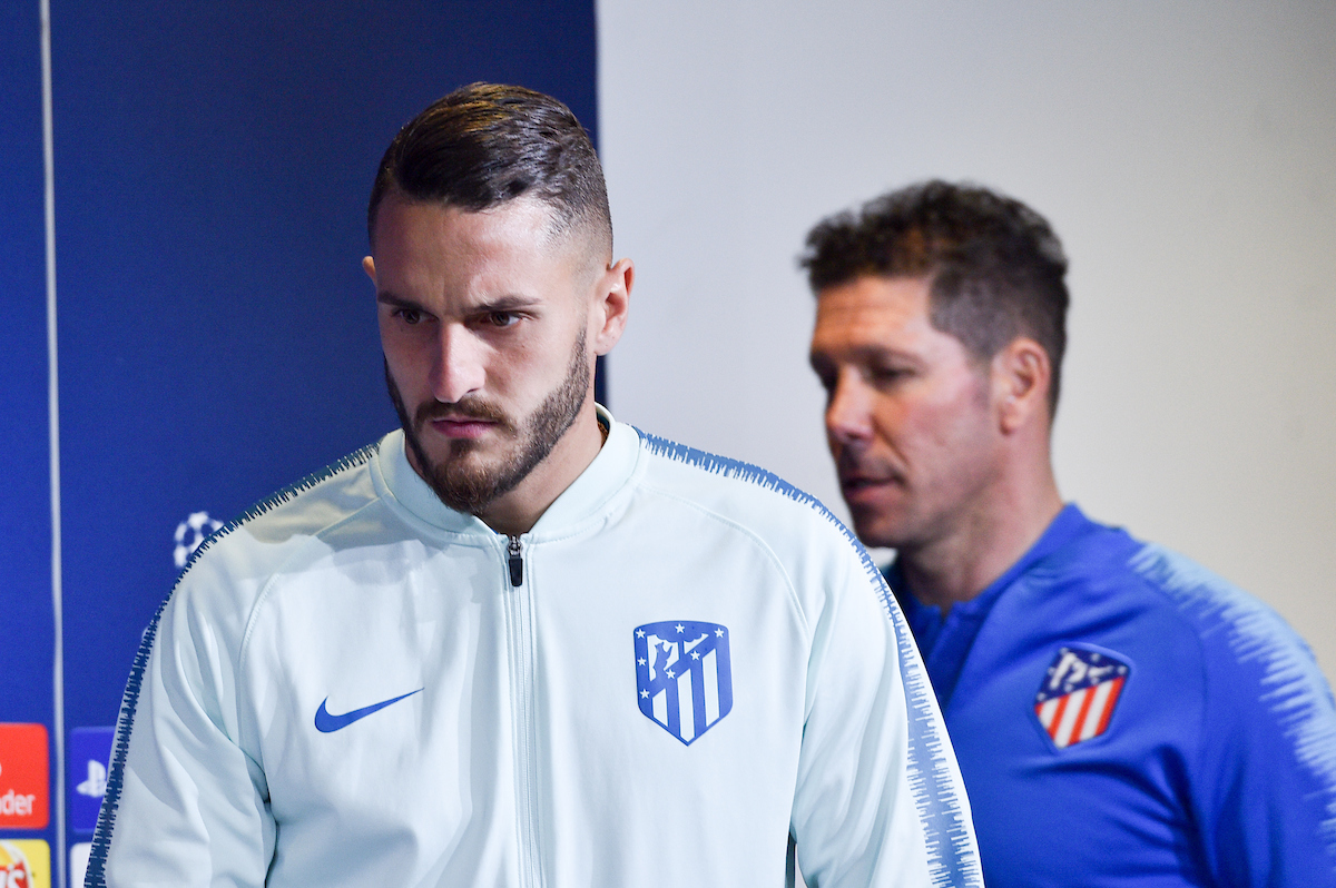 Koke and Diego Simeone during the Atletico Madrid press conference at Juventus Stadium, Turin Picture by Antonio Polia/Focus Images Ltd +393473147935 11/03/2019