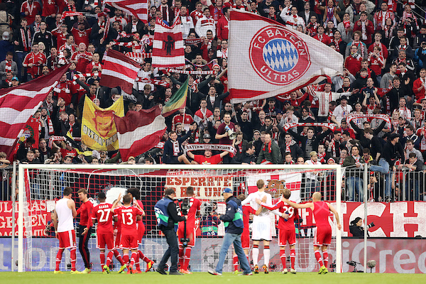 Bayern Munich players celebrate with fans after beating Manchester United 3-1 in the UEFA Champions League match at Allianz Arena, Munich Picture by Richard Calver/Focus Images Ltd +447792 981244 09/04/2014