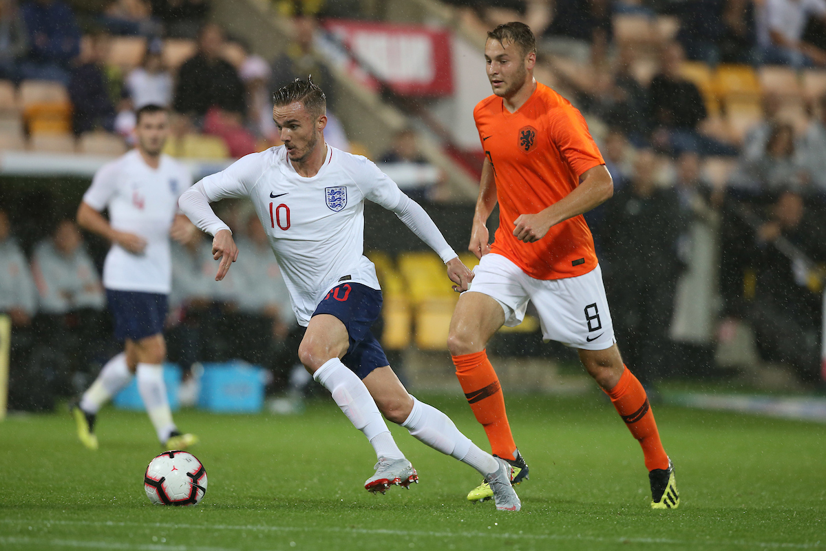 Teun Koopmeiners of The Netherlands and James Maddsion of England in action during the UEFA Euro U21 2019 Qualifiers match at Carrow Road, Norwich Picture by Paul Chesterton/Focus Images Ltd +44 7904 640267 06/09/2018