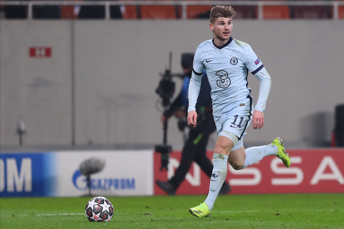 Timo Werner of Chelsea during the UEFA Champions League match at Arena Nationala, Bucharest Picture by Focus Images/Focus Images Ltd 07814 482222 23/02/2021