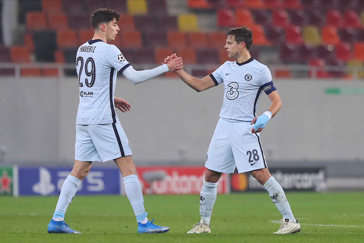 Kai Havertz and Cesar Azpilicueta of Chelsea during the UEFA Champions League match at Arena Nationala, Bucharest Picture by Focus Images/Focus Images Ltd 07814 482222 23/02/2021