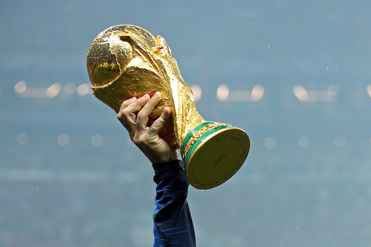 The World Cup Trophy is held aloft by Antoine Griezmann of France at the end of the 2018 FIFA World Cup Final match at Luzhniki Stadium, Moscow Picture by Paul Chesterton/Focus Images Ltd +44 7904 640267 15/07/2018
