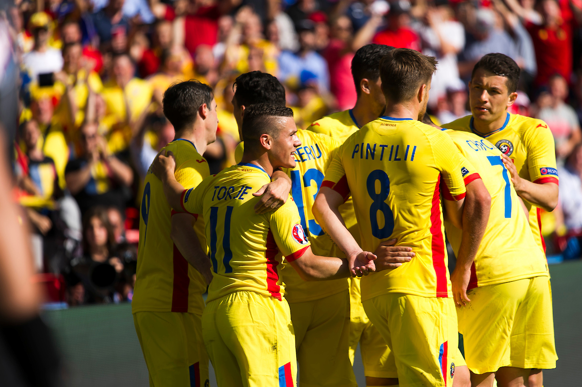 Romanian players celebrate after Borden Stancu scores a penalty against Switzerland during the UEFA Euro 2016 match at Stade de France, Paris Picture by Anthony Stanley/Focus Images Ltd 07833 396363 15/06/2016