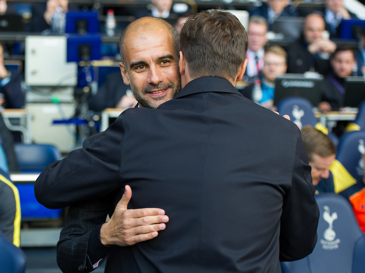 Manager Josep Guardiola of Manchester City (left) is greeted by Manager Mauricio Pochettino of Tottenham Hotspur during the Premier League match at White Hart Lane, London Picture by Alan Stanford/Focus Images Ltd +44 7915 056117 02/10/2016