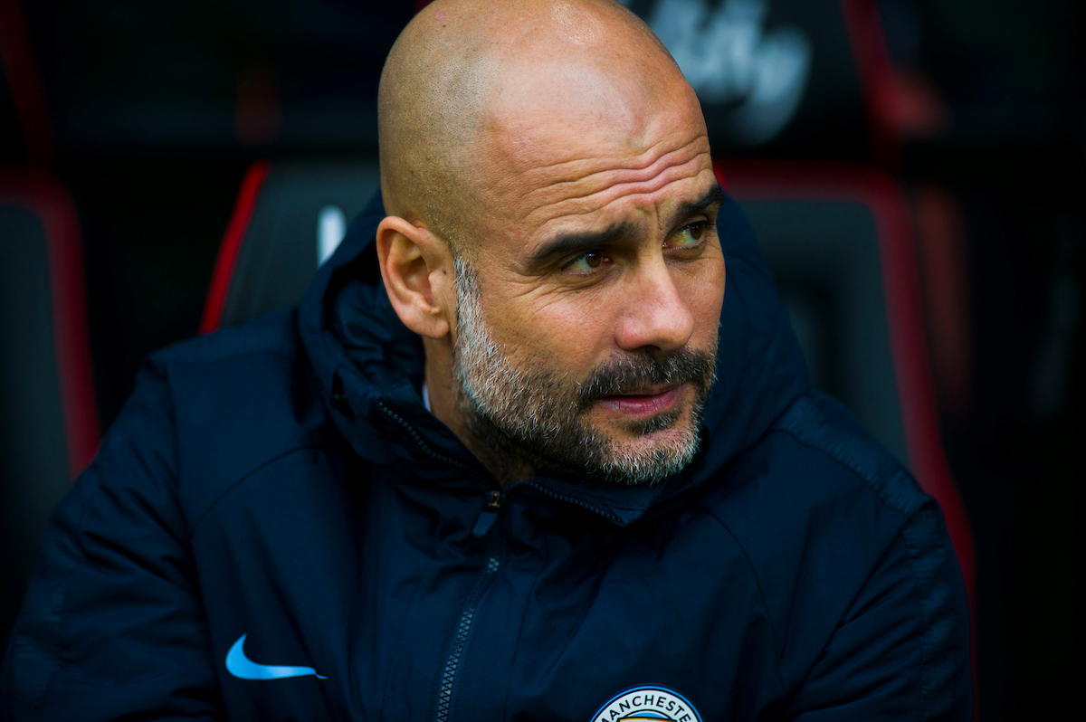 Pep Guardiola of Manchester City before the Premier League match at the Vitality Stadium, Bournemouth Picture by Daniel Murphy/Focus Images Ltd 07432 188161 02/03/2019