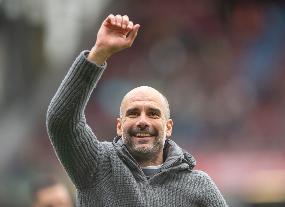 Manchester City manager Pep Guardiola celebrates following the Premier League match at Turf Moor, Burnley Picture by Russell Hart/Focus Images Ltd 07791 688 420 28/04/2019