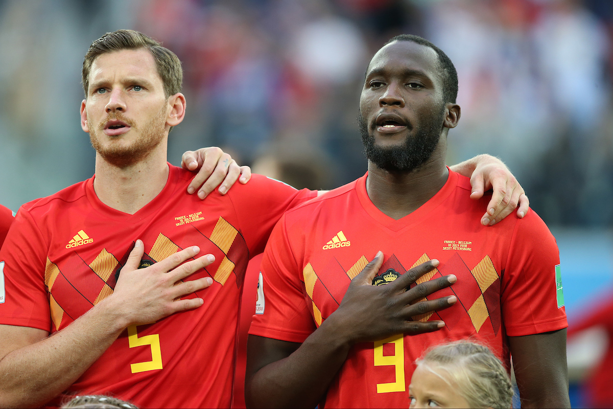Toby Alderweireld of Belgium and Romelu Lukaku of Belgium sing the National Anthem before the 2018 FIFA World Cup Semi Final match at St Petersburg Stadium, St Petersburg Picture by Paul Chesterton/Focus Images Ltd +44 7904 640267 10/07/2018