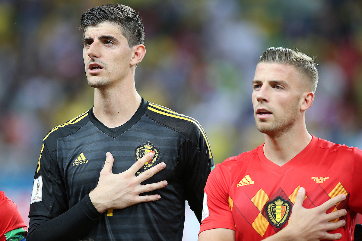 Thibaut Courtois of Belgium and Toby Alderweireld of Belgium sing the National Anthem before the 2018 FIFA World Cup Quarter-Final match at Kazan Arena, Kazan Picture by Paul Chesterton/Focus Images Ltd +44 7904 640267 06/07/2018