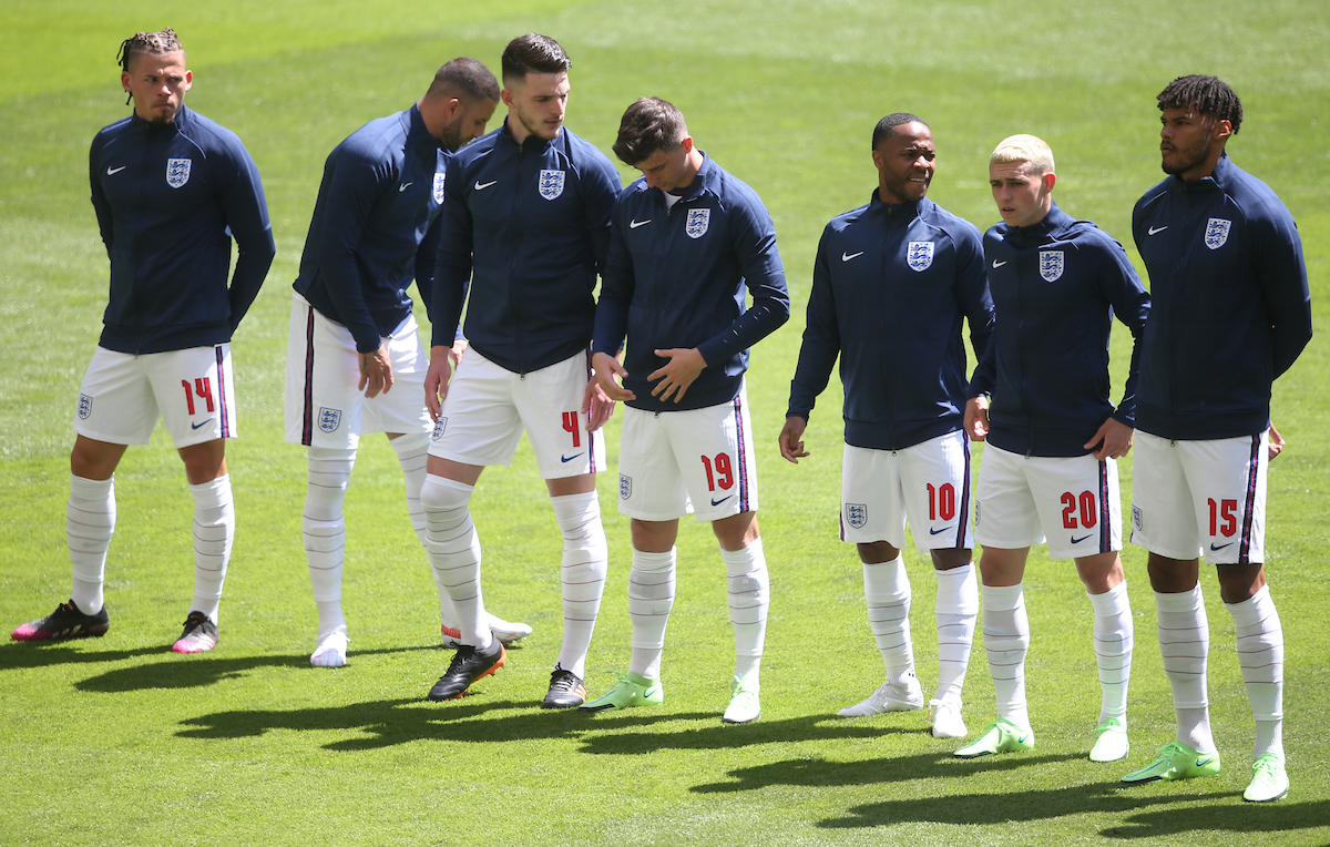 [Left to Right] Kalvin Phillips, Kyle Walker, Declan Rice, Mason Mount, Raheem Sterling, Phil Foden and Tyrone Mings before the UEFA Euro 2020 Group D match at Wembley Stadium, London Picture by Paul Chesterton/Focus Images Ltd +44 7904 640267 13/06/2021