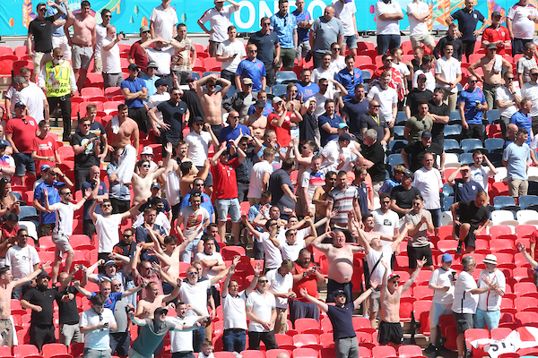 England fans celebrate after Raheem Sterling opens the scoring for England during the UEFA Euro 2020 Group D match at Wembley Stadium, London Picture by Paul Chesterton/Focus Images Ltd +44 7904 640267 13/06/2021