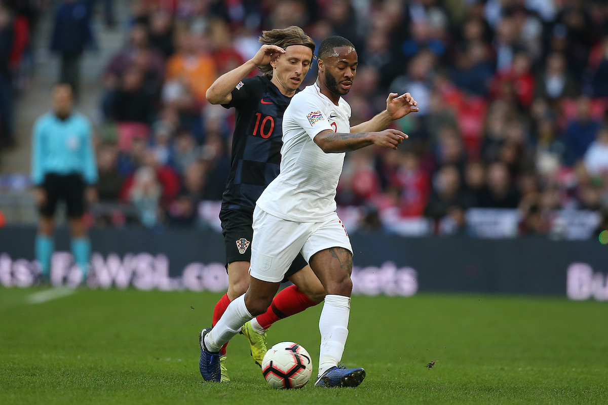 Luka Modric of Croatia and Raheem Sterling of England in action during the UEFA Nations League match at Wembley Stadium, London Picture by Paul Chesterton/Focus Images Ltd +44 7904 640267 18/11/2018