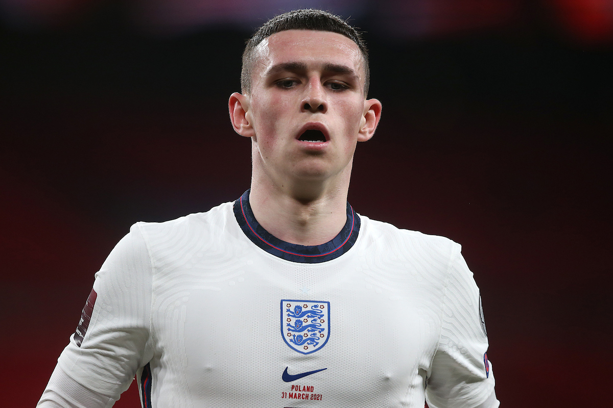 Phil Foden of England during the 2022 FIFA World Cup Qualifiers match at Wembley Stadium, London Picture by Paul Chesterton/Focus Images Ltd +44 7904 640267 30/03/2021