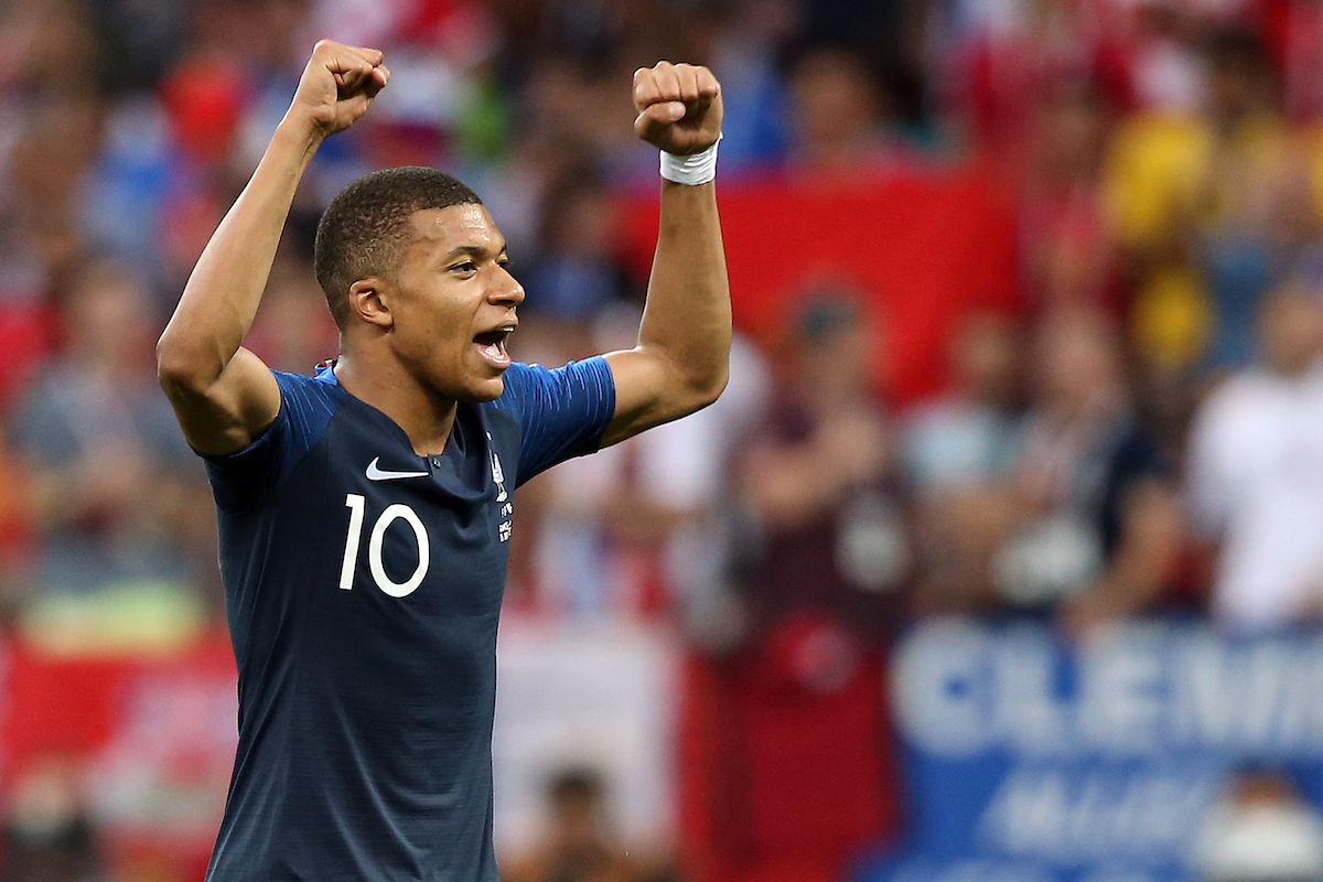 Kylian Mbappe of France celebrates scoring his side's 4th goal during the 2018 FIFA World Cup Final match at Luzhniki Stadium, Moscow Picture by Paul Chesterton/Focus Images Ltd +44 7904 640267 15/07/2018