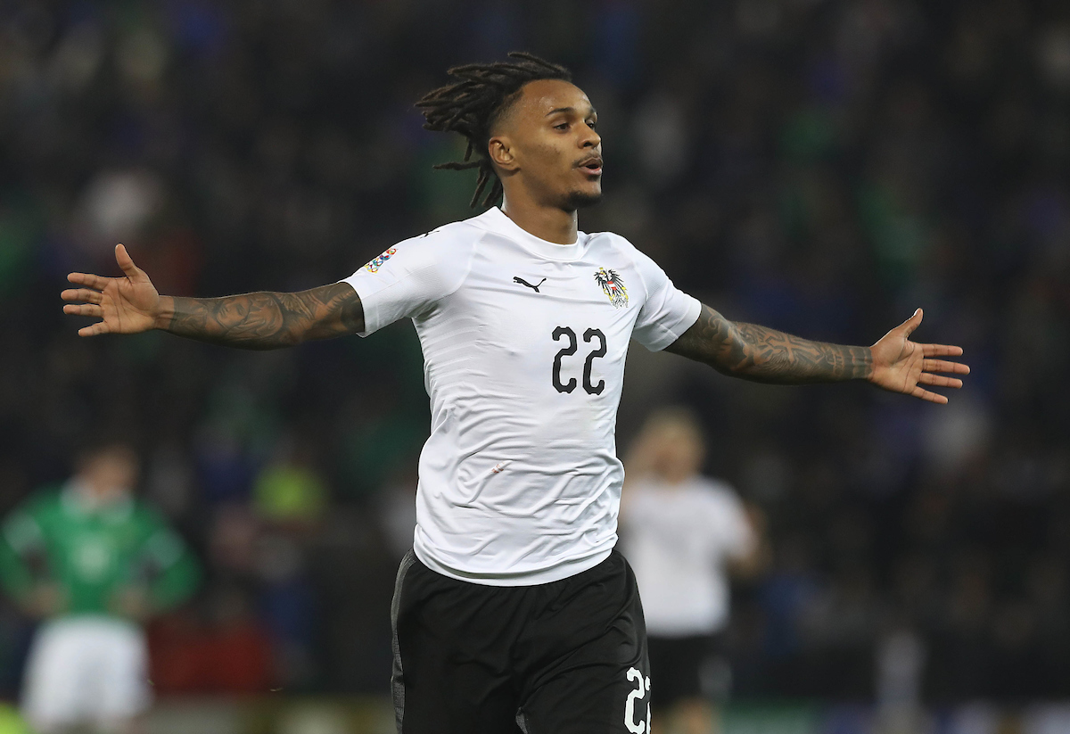 Valentino Lazaro of Austria celebrates after scoring the winning goal during the UEFA Nations League match at Windsor Park, Belfast Picture by Lorraine O'Sullivan/Focus Images Ltd +353 872341584 18/11/2018