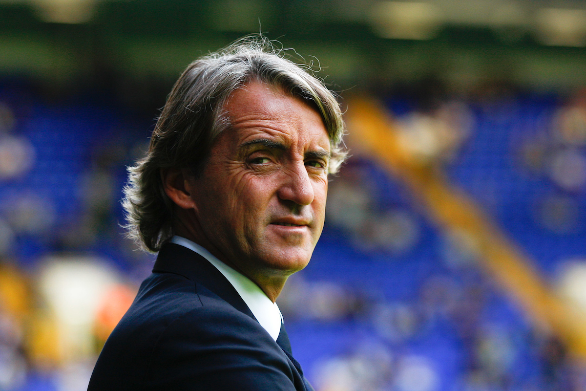 Picture by Andrew Tobin/Focus Images Ltd. 07710 761829.. 28/8/11. Roberto Mancini, manager of Manchester City looks on before the start of the Barclays Premier League match between Tottenham Hotspur and Manchester City at White Hart Lane stadium, London.