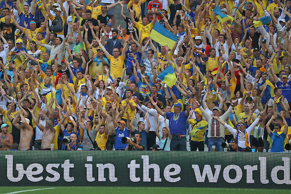 Ukraine fans during the UEFA Euro 2016 match at Stade Velodrome, Marseille Picture by Paul Chesterton/Focus Images Ltd +44 7904 640267 21/06/2016