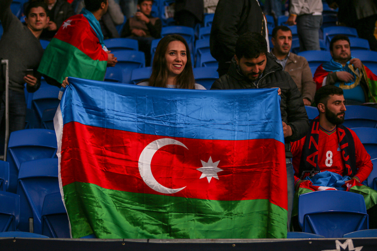 An Azerbaijan fan holds her nations flag proudly before the UEFA Euro 2020  Qualifiers match at the Cardiff City Stadium, Cardiff Picture by Matthew Lofthouse/Focus Images Ltd 07703 390510 06/09/2019