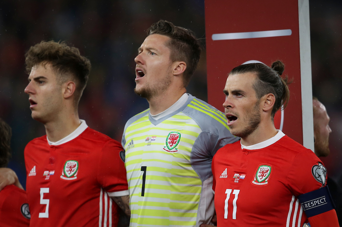 Joe Rodon, Wayne Hennessey and Gareth Bale of Wales before the UEFA Euro 2020  Qualifiers match at the Cardiff City Stadium, Cardiff Picture by Mike Griffiths/Focus Images Ltd +44 7766 223933 13/10/2019