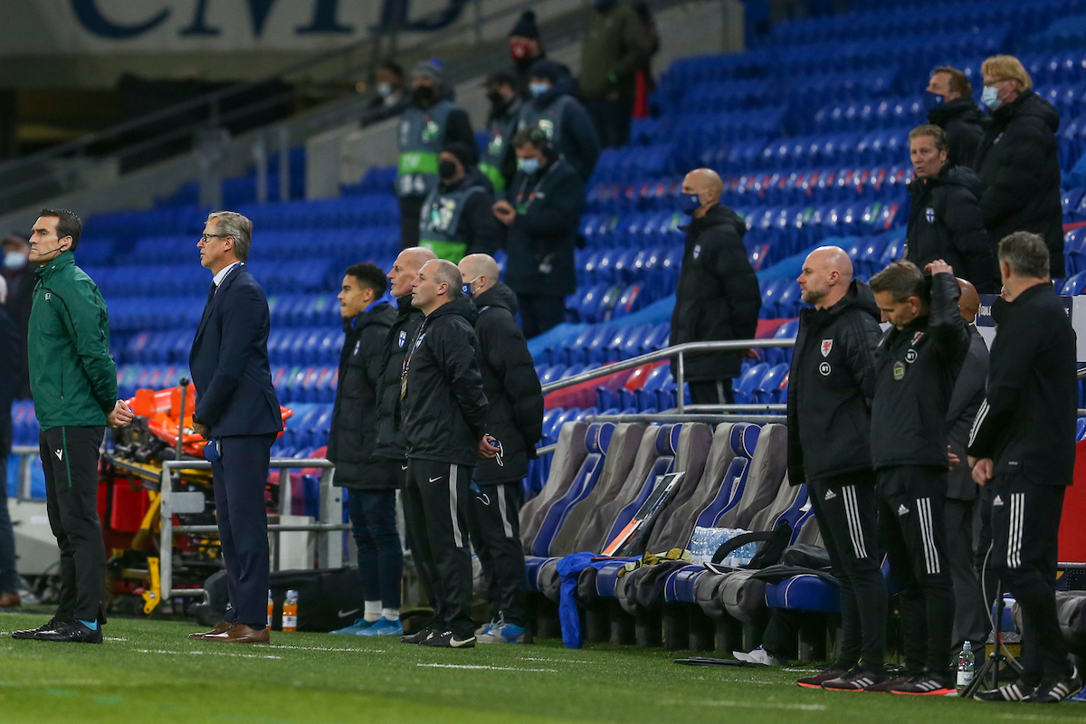 Rob Page, Coach of Wales and Markku Kanerva during the UEFA Nations League match at the Cardiff City Stadium, Cardiff Picture by Mike Griffiths/Focus Images Ltd +44 7766 223933 18/11/2020