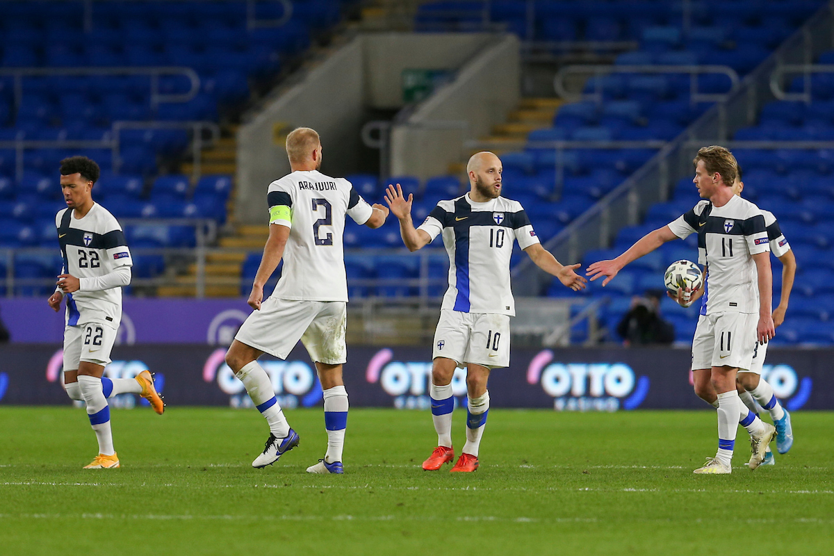Teemu Pukki of Finland celebrates his teams first goal during the UEFA Nations League match at the Cardiff City Stadium, Cardiff Picture by Mike Griffiths/Focus Images Ltd +44 7766 223933 18/11/2020