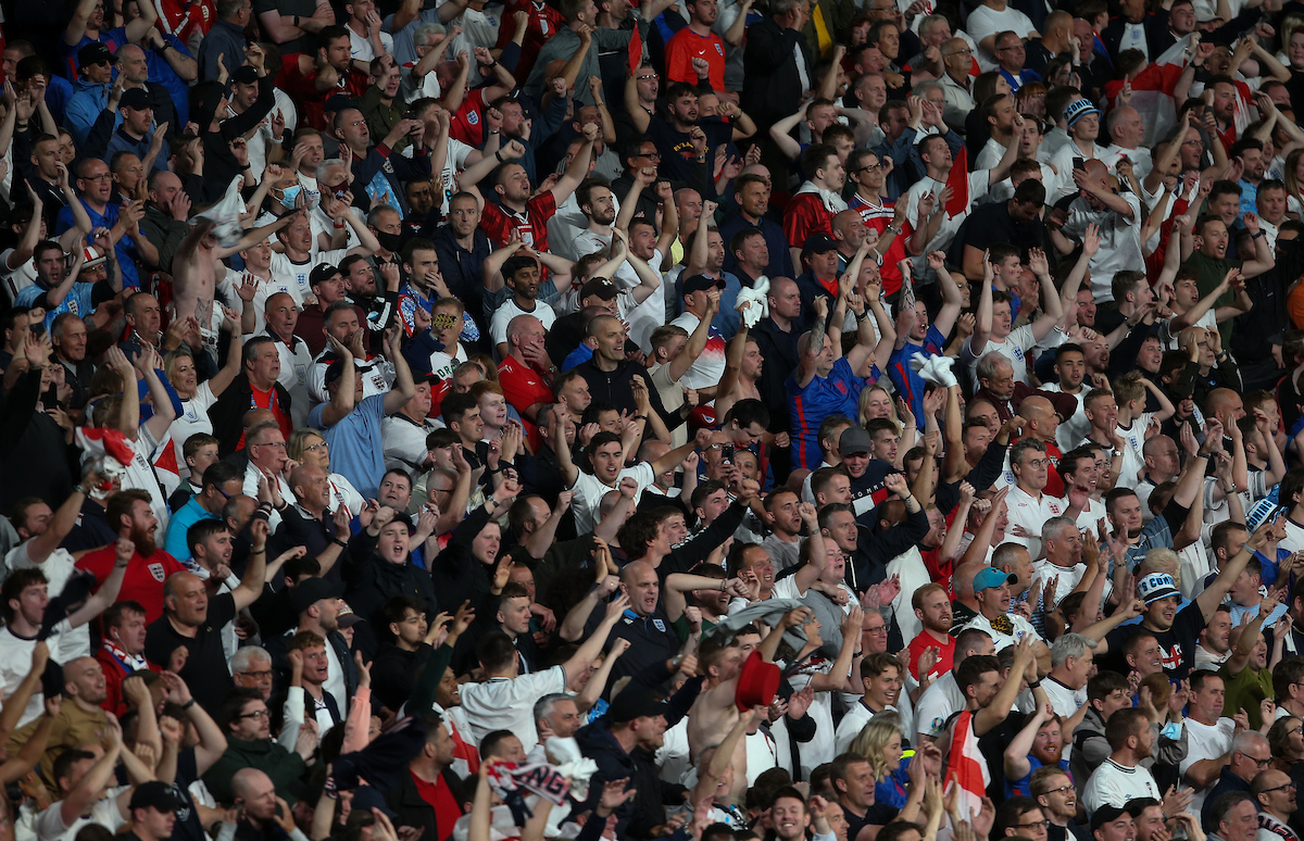 England fans celebrate after Harry Kane scores during the UEFA Euro 2020 Semi Final match at Wembley Stadium, London Picture by Paul Chesterton/Focus Images Ltd +44 7904 640267 07/07/2021