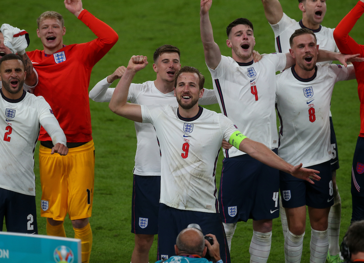 Harry Kane celebrates with his team mates after the UEFA Euro 2020 Semi Final match at Wembley Stadium, London Picture by Paul Chesterton/Focus Images Ltd +44 7904 640267 07/07/2021