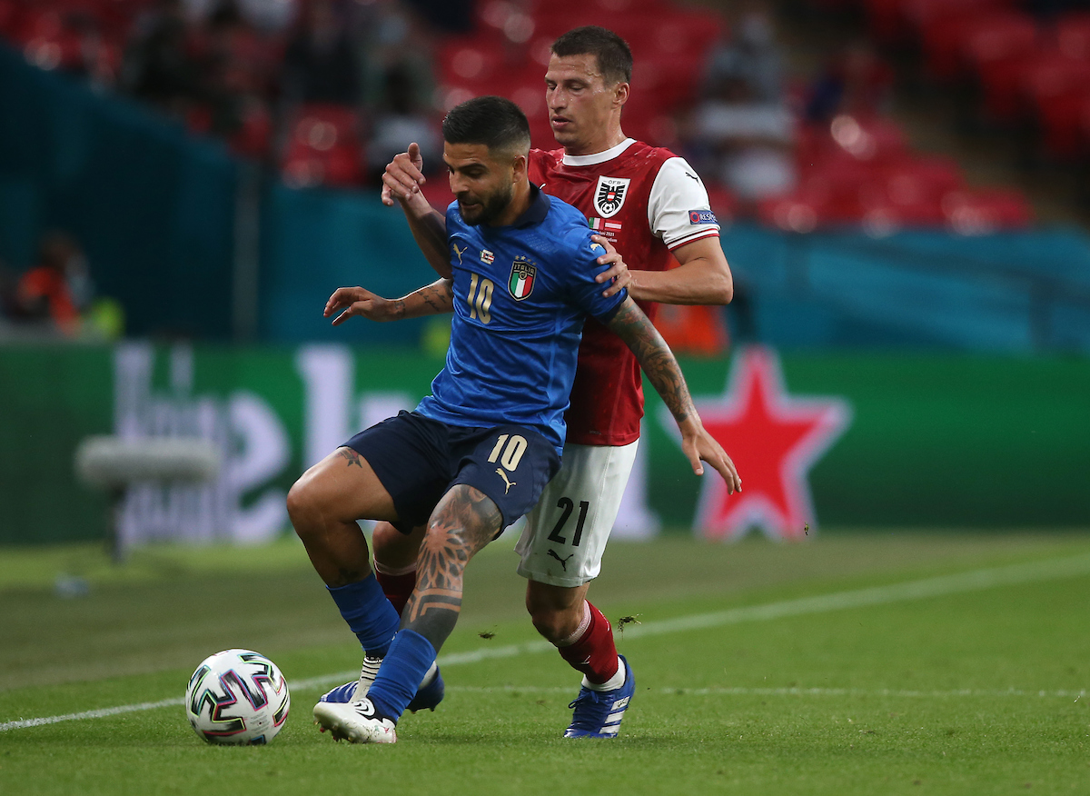 Lorenzo Insigne of Italy and Stefan Lainer of Austria during the UEFA Euro 2020 last 16 match at Wembley Stadium, London Picture by Paul Chesterton/Focus Images Ltd +44 7904 640267 26/06/2021