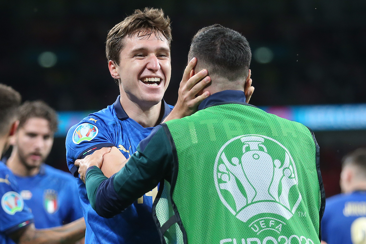 Federico Chiesa of Italy celebrates scoring his side's 1st goal during the UEFA Euro 2020 last 16 match at Wembley Stadium, London Picture by Paul Chesterton/Focus Images Ltd +44 7904 640267 26/06/2021