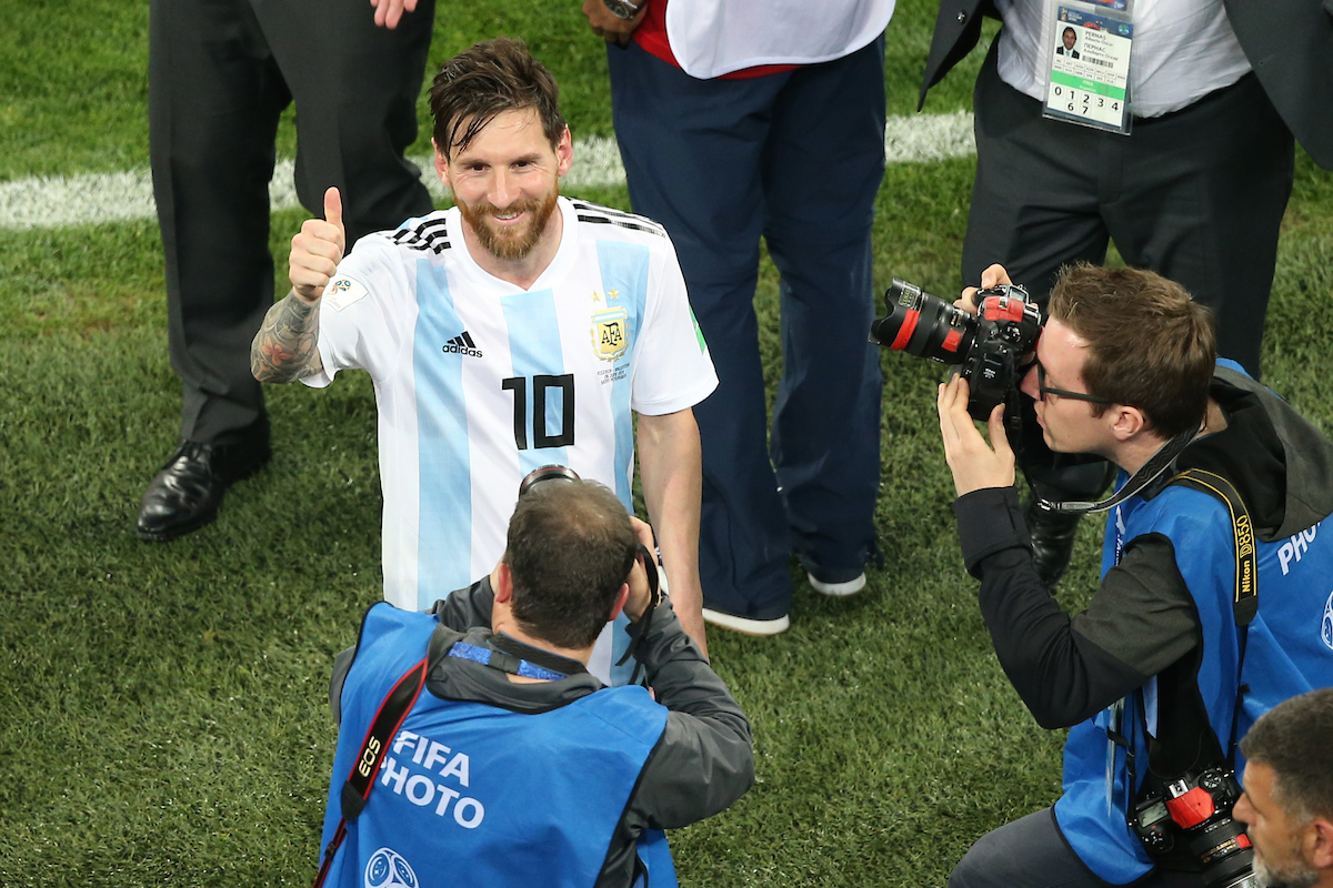 Lionel Messi of Argentina is photographed at close quarters as he leaves the pitch at the end of the 2018 FIFA World Cup match at St Petersburg Stadium, St Petersburg Picture by Paul Chesterton/Focus Images Ltd +44 7904 640267 26/06/2018