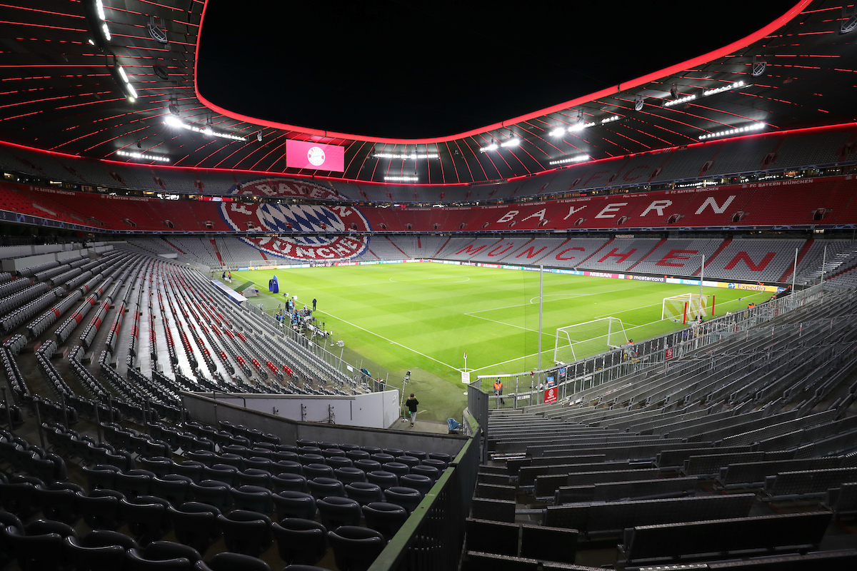 A general view of the Allianz Arena before the start of the UEFA Champions League match between Bayern Munich and Tottenham Hotspur at Allianz Arena, Munich Picture by Yannis Halas/Focus Images Ltd +353 8725 82019 11/12/2019