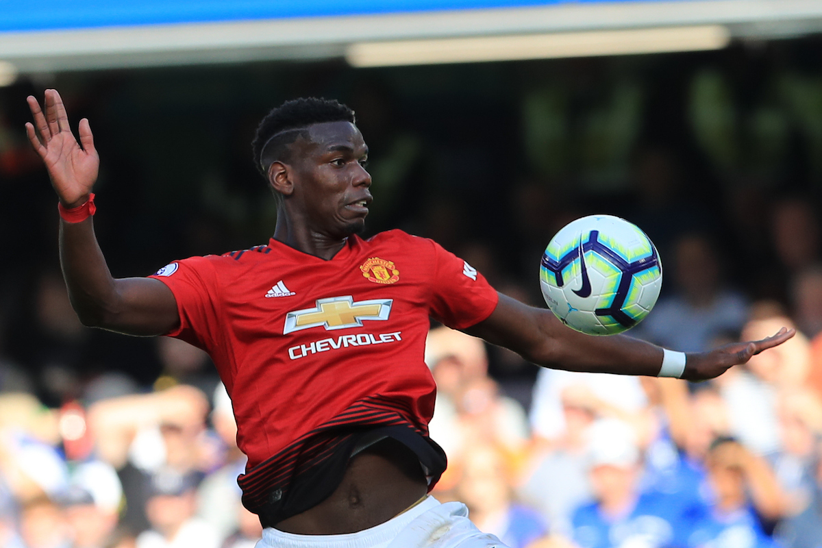 Paul Pogba of Manchester United in action during the Premier League match at Stamford Bridge, London Picture by Romena Fogliati/Focus Images Ltd 07576143919 20/10/2018