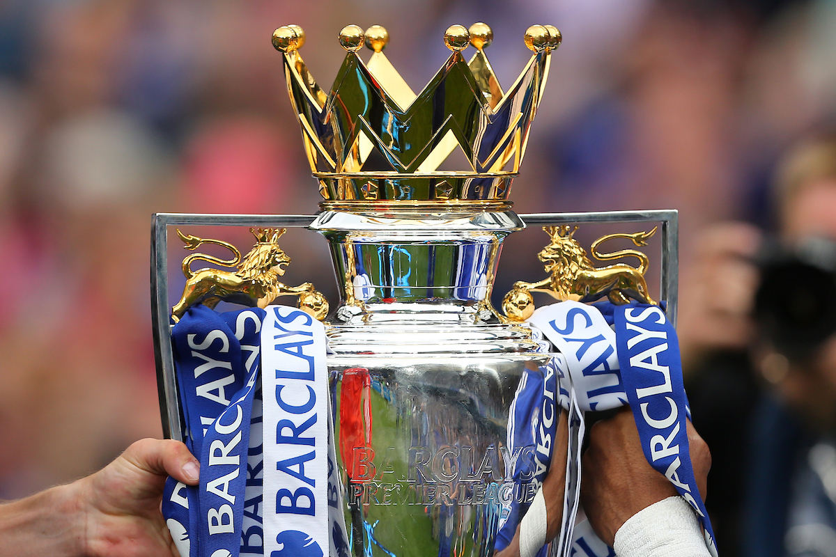 The trophy held between John Terry and Didier Drogba of Chelsea after the Barclays Premier League match at Stamford Bridge, London Picture by Richard Calver/Focus Images Ltd +44 7792 981244 24/05/2015