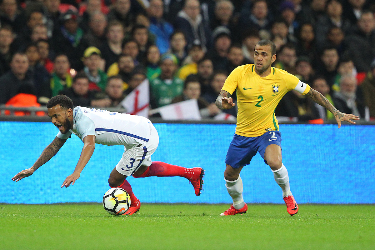 Ryan Bertrand of England and Dani Alves of Brazil in action during the International Friendly match at Wembley Stadium, London Picture by Paul Chesterton/Focus Images Ltd +44 7904 640267 14/11/2017