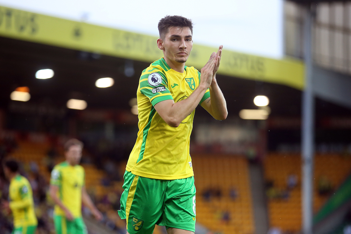Billy Gilmour of Norwich applauds the fans during the Pre-season friendly match at Carrow Road, Norwich Picture by Paul Chesterton/Focus Images Ltd +44 7904 640267 03/08/2021