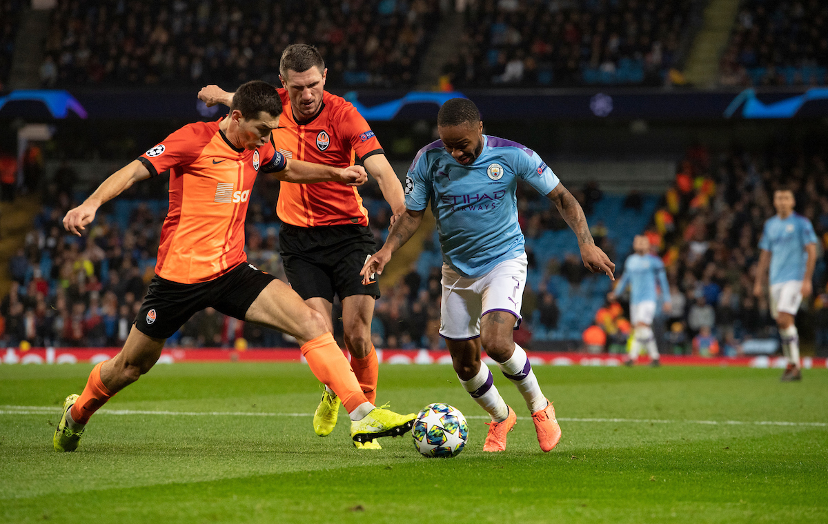 Raheem Sterling of Manchester City looks to find a shooting opportunity during the UEFA Champions League match at the Etihad Stadium, Manchester Picture by Russell Hart/Focus Images Ltd 07791 688 420 26/11/2019