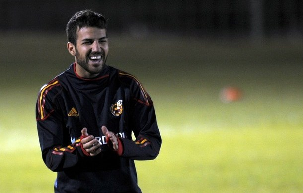 Spain's Spain's midfielder Cesc Fabregas takes part in a training session at the North West University Sports Village in Pochefstroom on June 12, 2010. Spain are in Group H of the 2010 World Cup and will play Switzerland in the group opener match on June 16, followed by Honduras on June 21 in Johannesburg and Chile four days later in Pretoria. AFP PHOTO / LLUIS GENE. (Photo credit should read LLUIS GENE/AFP/Getty Images)