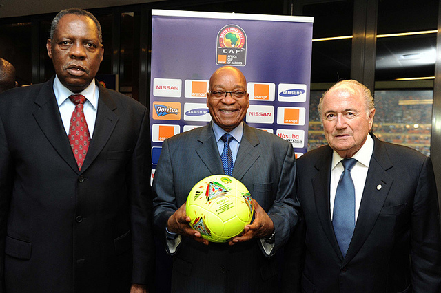 Confederation of African Football (CAF) President Issa Hayatou with FIFA President Sepp Blatter award President Jacob Zuma with the official ball of the Orange Africa Cup of Nations (AFCON) final match between Burkina Faso and Nigeria. (GCIS photo)