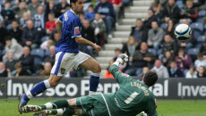 Preston - Saturday April 26th, 2008: Pablo Counago of Ipswich Town puts the ball in the net but his goal is disallowed for offside against Preston North End during the Coca Cola Championship match at Deepdale, Preston. (Pic by Michael Sedgwick/Focus Images)..