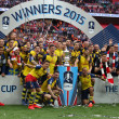 The Arsenal players celebrate victory at the end of the FA Cup Final at Wembley Stadium, London Picture by Paul Chesterton/Focus Images Ltd +44 7904 640267 30/05/2015