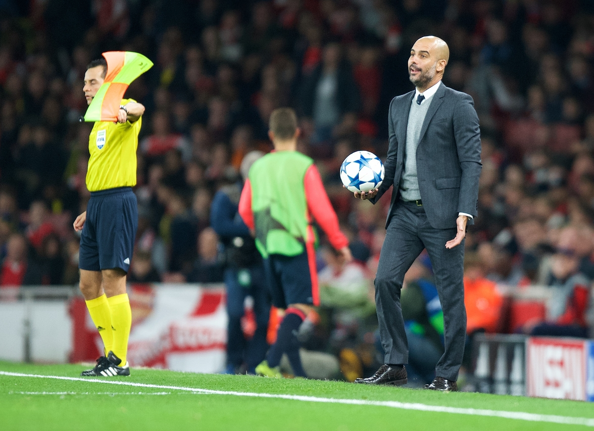 Manager Josep Guardiola of Bayern Munich during the UEFA Champions League match at the Emirates Stadium, London Picture by Alan Stanford/Focus Images Ltd +44 7915 056117 20/10/2015