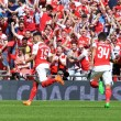 Alex Oxlade-chamberlain (15) of Arsenal celebrates after scoring scores the opening goal during the FA Community Shield match at Wembley Stadium, London Picture by Alan Stanford/Focus Images Ltd +44 7915 056117 02/08/2015