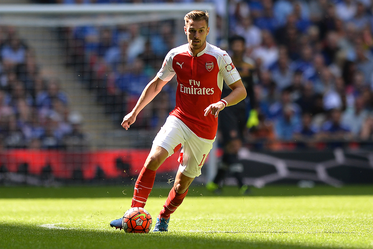 Aaron Ramsey of Arsenal during the FA Community Shield match between Arsenal and Chelsea at Wembley Stadium, London Picture by Richard Blaxall/Focus Images Ltd +44 7853 364624 02/08/2015