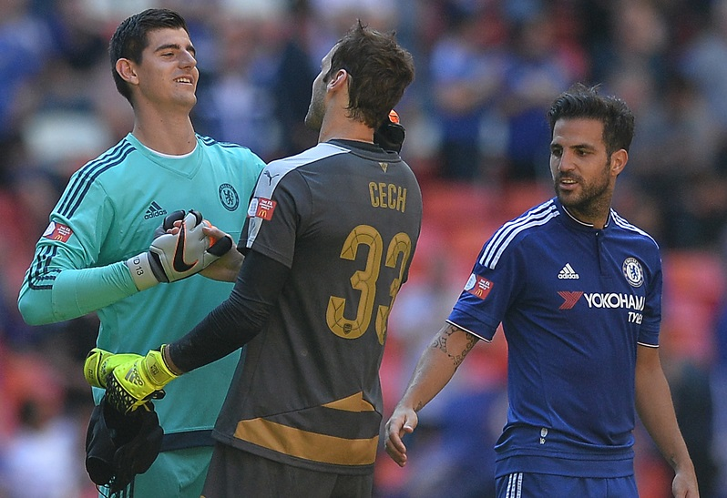 Thibaut Courtois of Chelsea congratulates Petr Cech of Arsenal at the final whistle during the FA Community Shield match between Arsenal and Chelsea at Wembley Stadium, London Picture by Richard Blaxall/Focus Images Ltd +44 7853 364624 02/08/2015