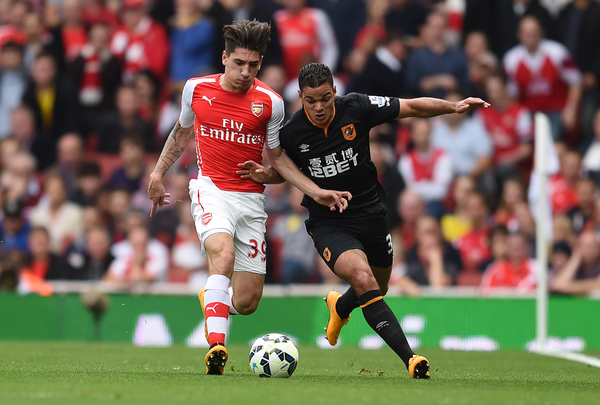 Hector Bellerin of Arsenal and Hatem Ben Arfa of Hull City during the Barclays Premier League match at the Emirates Stadium, London Picture by Andrew Timms/Focus Images Ltd +44 7917 236526 18/10/2014