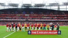 The teams come out for the FA Cup match at the Emirates Stadium, London Picture by Alan Stanford/Focus Images Ltd +44 7915 056117 20/02/2016